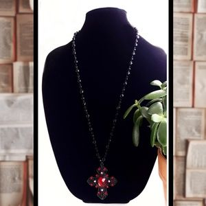 Jewelry - Vintage Style Goth Cross Beaded Sweater Necklace